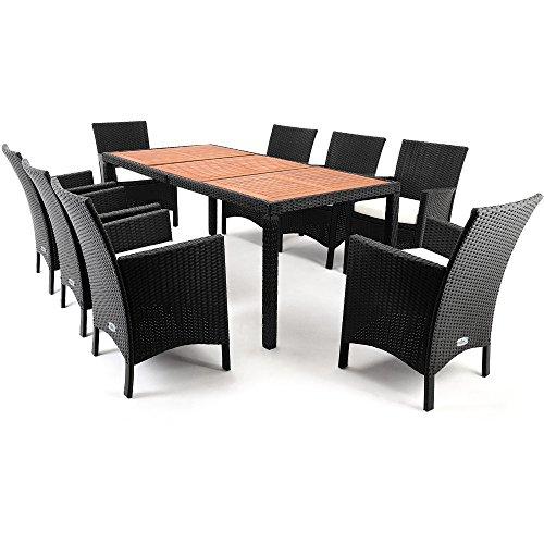 Polyrattan Sitzgruppe 8+1 Tisch aus Akazienholz Gartenmöbel Lounge Gartenset Sitzgarnitur Rattan - 6