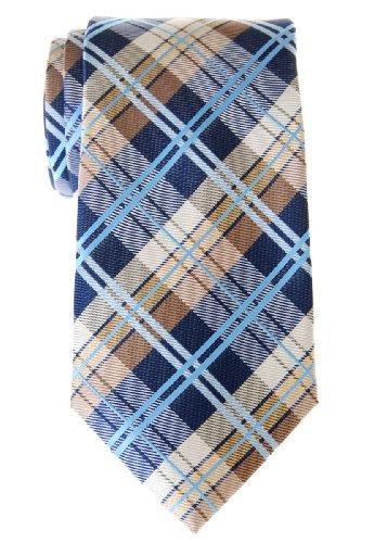 Retreez Cravate élégante tissée en tartan pour homme - Bleu marin et Kak