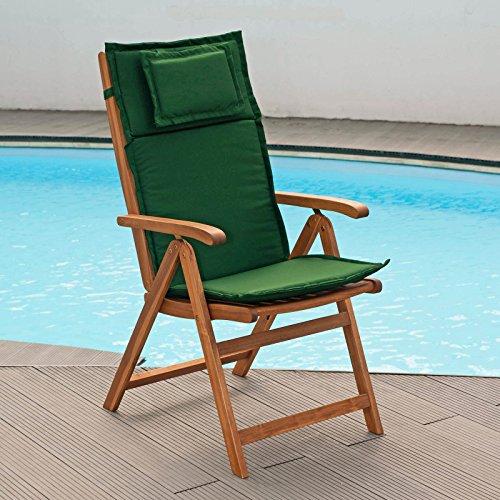 Auflagen für Hochlehner Sessel hoch in grün Bezug mit Reißverschlüssen - waschbar (ohne Sessel)