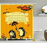 JAMES STRAIN Fun Shower Curtain, Notebook Cover Design Two Hedgehogs with an Umbrella Rainy Weather Cloud, Fabric Bathroom Decor Set with Hooks, 70 inches, Yellow Dark Orange Black