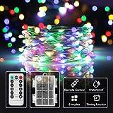 lichterkette mit batterie warmweiß,Timer-Fernbedienung und IP65 Wasserdicht für Party, Garten,Hochzeit[10M] (Bunt)