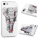 iPhone 7 (4,7 pouces) Coque de Protection Transparente - YOKIRIN Phone Case PC Ultra Mince Cover Illustration Coloré - Eléphant