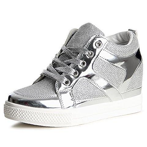 topschuhe24 841 Damen Sneaker Keilabsatz Hidden Wedges, Farbe:Silber;Größe:37