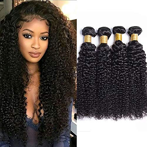 ysian Kinkys Curly Hair Weave Kinky Curly Human Hair 3 Bundles 100% Unprocessed Virgin Remy Human Hair Weave Extensions Natural Color (100+/-5g)/pc(3x16 inch) ()