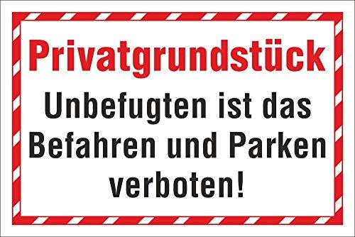 WERBEPUNKT. Schild Privatgrundstück Befahren Parken verboten Hinweisschild 3 mm Alu-Verbund 300 x 200 mm