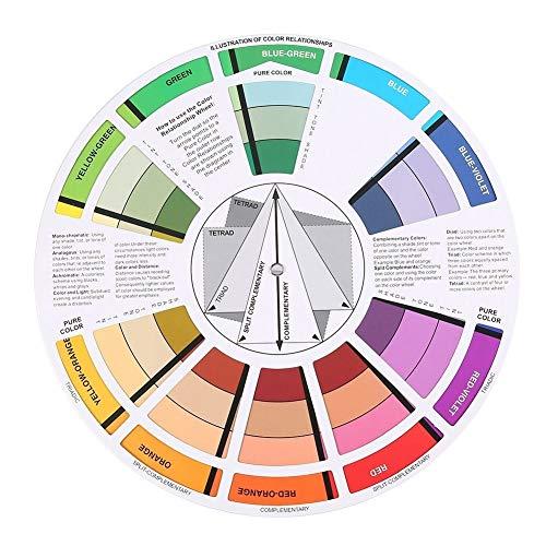 Solomi Farbrad - Professional Mix Guide Runde Papierkarte Farbrad für Tattoo Nail Pigment 2St