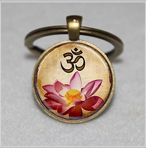 Yoga Schlüsselanhänger, OM, Pink Lotus Blossom Flower Art  Einzigartige Schlüsselanhänger Key Ring Geschenk  Everyday Schlüsselanhänger Key kette (Lotus Blossom Schmuck)