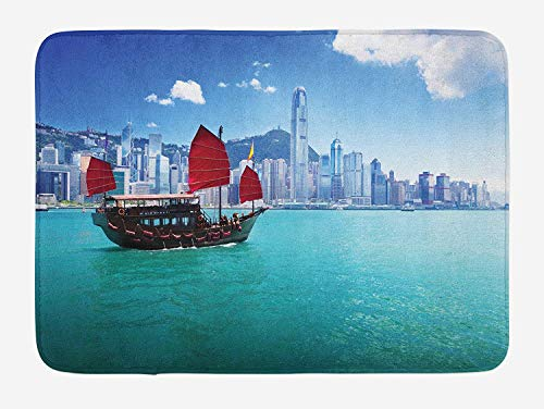 , Hong Kong Harbour Small Traditional Junk Boat with Flags Buildings Skyline and Sea, Plush Bathroom Decor Mat with Non Slip Backing, 23.6 W X 15.7 W Inches, Aqua Blue Red ()