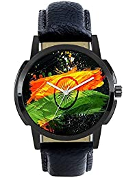 Style Keepers Round Dial Analogue Black Dial Black Leather Strape Fashion Wrist Watch For Men & Boys | RR-FX-404