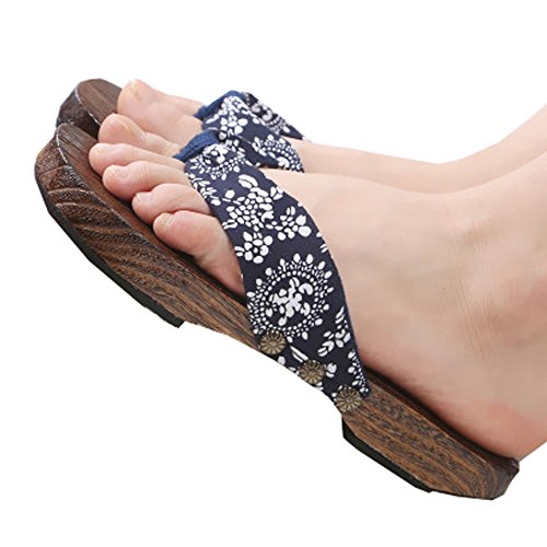 apanese Blumendruck Slip-On Flip Flop Geta Clogs Hausschuhe Kimono Yukata Sommer Geschenk, U (Halloween-fleece-stoff)