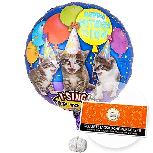 Singender Ballon - Tierische Geburtstagsgrüße Katzen und Schokolade Geburtstagskuchenersetzer