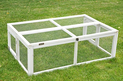 nanook Max - Freigehege Zum Anbau für Kaninchenställe, klappbares und verriegelbares Dach, Farbe: Weiß - Größe S (123 x 80 cm)