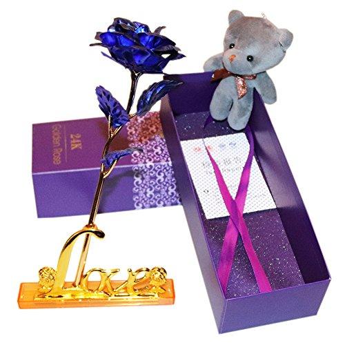 Día de San Valentín en caja regalo–24K dorado rosa flores artificiales decoración del hogar/oso de peluche, mejor regalo para el día de la madre/Día de maestros, boda, cumpleaños, Navidad, día de Acción de Gracias por elaiya
