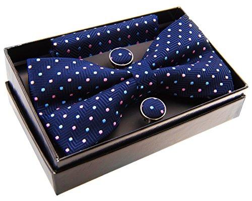 """Zig Zag diseño de rayas con textura w/lunares PRE-TIED BOW TIE (5"""") W/bolsillo cuadrado & gemelos Set de regalo Azul azul marino Talla única"""