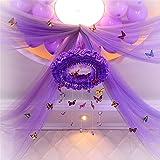 VANKER 10 Meter Hintergrund Gaze Vorhang Organza Garland Stuhl Abdeckung Hochzeit Partydekoration Lila