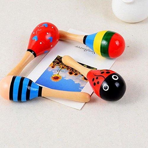 Hosaire 2x Baby Kinder Holz Spielzeug Handgefertigten Aus Holz Rasseln Baby Musik Rasseln Shaker Holzhammer Hammerbank für Kinder,Zufällige Farbe