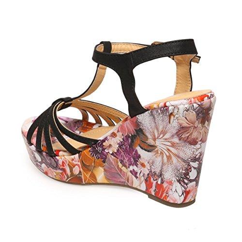 La Modeuse - Sandales femme en simili cuir à talon compensées imprimé floral Noir