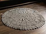 Maison Zoe Schwerer runder Häkelteppich grau ø110cm - 100% Handgemacht - einfarbiges Design - Teppiche