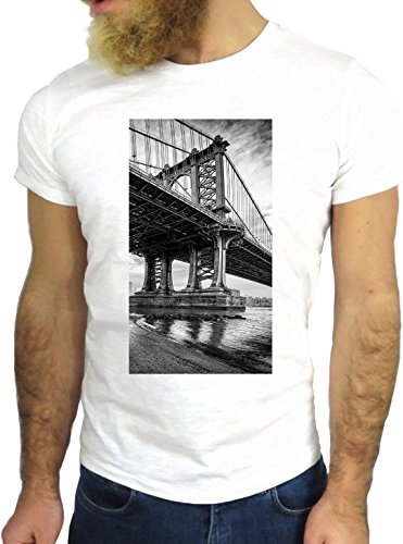 T SHIRT JODE Z1414 BRIDGE AMERICA USA NY CITY LIFE RIVER FUN COOL FASHION NICE GGG24 BIANCA - WHITE