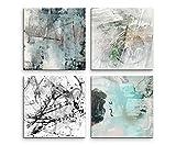 4 Bilder Set Abstrakt Hell Grautöne Serenity Kunst