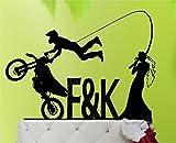 Sandy66Twain Acryl Funny Angeln Braut und Bräutigam Motorrad Personalisierbar Initialen Hochzeit Kuchen Topper, Hochzeit Geschenke, Hochzeit Decor, Paare Geschenke