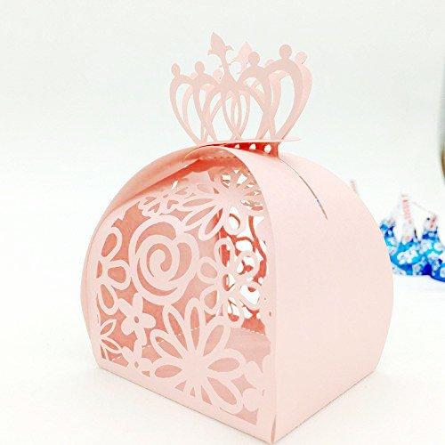 50pcs-Krone Lock Blume Stil Hohl Laser Cut Roses Blumen Hochzeit Candy Box Chocolate Candy Halterungen Partyzubehör für Braut Dusche, Hochzeit, Party, Geburtstag Geschenk rose
