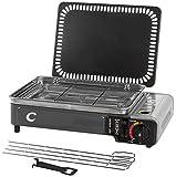VTK - Kit SuperCook Duo da campeggio, grill e piastra portatile a gas, da...
