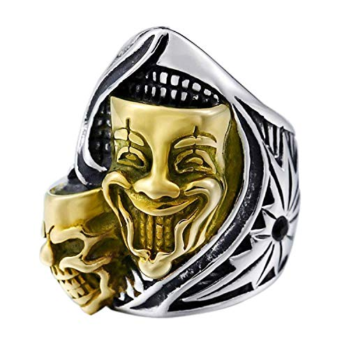 NBMCXC Edelstahl Goldener Clown Doppel Schädel Joker 316L kühler Mens Ritter Ring