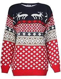 Fast Fashion - Pull Manches Longues Taille Plus Rennes Xmas Flocon De Neige De Diamants En Maille Christmas - Femmes