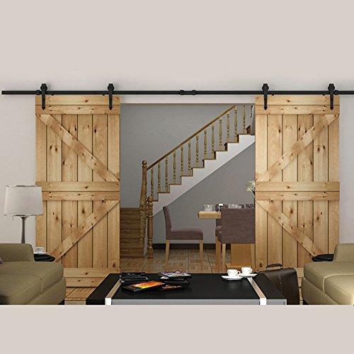 Schrank Schiebetüren Türen Interior (hahaemall 5ft/1,5m Modern Interior Schiebetür doppelt Barn Tür Hardware Track Set mit Soft Close Rolling Küche Schrank Tür)