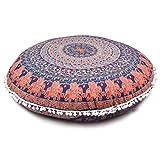 Ganesham Handwerk - Indian Psychedelische Mandala Tapisserie, runde Sitzplätze Pouf Ottoman, Mandala Boden Kissen, Meditation Kissenbezug, Handgemachte Kissenbeilage, runde Mandala Kissen Wurf, dekorative Boho Kissen