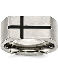 ICE CARATS Titanium 10mm Black Enamel Cross Religious Brushed Wedding Ring Band Designed Fashion Jewelry Gift Set For Women Heart
