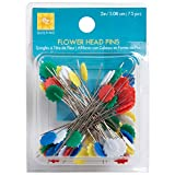 WRIGHTS-Flower Head Pins. These are great pins to have in your sewing kit. The colorful flower shape on top of the pin makes it easy to find in fabric. This package contains seventy-five 2 inch tall head pins. Imported.