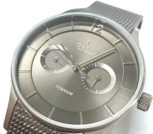 Obaku Men's 38mm Grey Steel Bracelet Titanium Case Quartz Analog Watch V175GMTJMJ