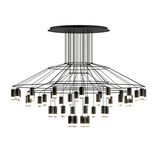 Vibia wireflow Chandelier 0376 Suspension LED, noir RAL 9005 laqué Push cri > 80 2700 K 20591 lm Dali 1-10 V 50-60 Hz H 112 cm Ø 150 cm