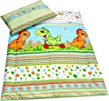 Babies-Island A2 Piece Bedding Set Pillowcase+Duvet Cover For Baby Toddler To Fit Cot/Cot Bed - Green Dinosaurs - Size : 120x150 cm - Babies-Island - amazon.co.uk