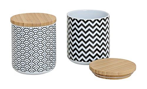 Vorratsdose '2er Set Black & White' Vorratsbehälter Kaffeedose Teedose Porzellan mit Deckel Bambus...