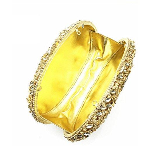 Women 's Frizione Fiore Strass In Cristallo Sacchetto Di Sera Gold