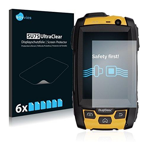 6x Savvies SU75 UltraClear Bildschirmschutz Schutzfolie für RugGear RG500 (ultraklar, mühelosanzubringen)