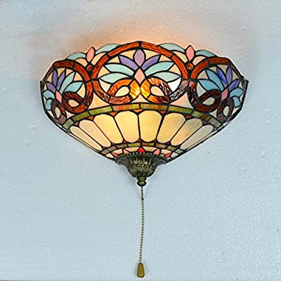 Tiffany Semi-Circle Balcony Wall Lights Continental Glass Corridor Bathroom Wall Lamps With Switch Creative Bedroom Bedsides Living Room Wall Lighting Fixtures