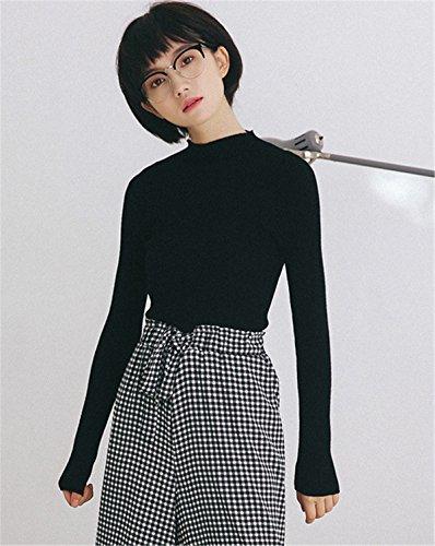 JOTHIN Letteratura e arte Maglieria Monocolore Eleganti Maglioni Half Collo alto Pullover Slim Fit Casual Sweater Donna Nero