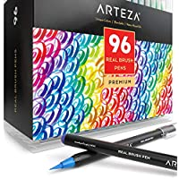 Arteza Real Brush Pens, 96 Paint Markers with Flexible Brush Tips, Professional Watercolour Pens for Painting, Drawing, Colouring & More, 100% Nontoxic, Multiple Colours