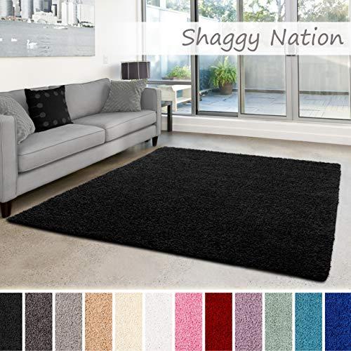 Shaggy-Teppich   Flauschiger Hochflor fürs Wohnzimmer, Schlafzimmer oder Kinderzimmer   einfarbig, schadstoffgeprüft, allergikergeeignet in Farbe: Schwarz; Größe: 120x170 cm -