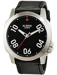 Nixon Ranger 45 Leather Black / Red A466008-00 - Reloj para hombres, correa de cuero color negro