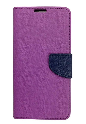 AUX MART Fancy Diary Flip Cover Case For Samsung GalaxyOn7 Purple + Micro USB OTG Cable Attach Pendrive Card Reader Mouse Keyboard to Tablets Mobile