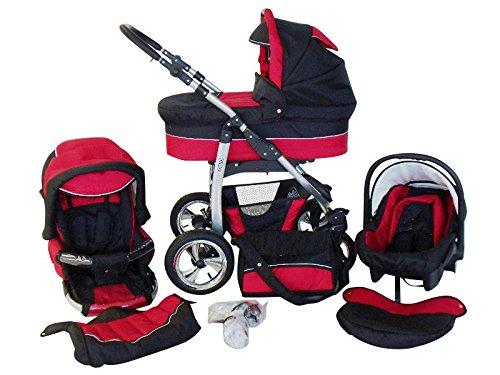 Chilly Kids Dino 3 in 1 Kinderwagen Set (Autosit & Adapter, Regenschutz, Moskitonetz, Schwenkräder) 23 Rot & Schwarz
