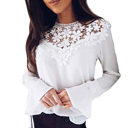 Hansee Frauen Lace Spleißen Openwork Mode O-Neck Tops langen Lautsprecher Ärmel Hemd Bluse (L, Weiß) (Hahnentritt-kragen)