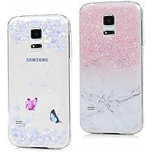 2 x Funda para Samsung Galaxy S5 Mini,Samsung Galaxy S5 Mini Funda Carcasas Flexible TPU Silicona Transparente Ultra Fina Ultra Ligero Gel Shock-Absorción,Anti-Arañazos y Anti-Choque Bumper Protectora Case Cover para Samsung Galaxy S5 Mini-mariposa+mármol