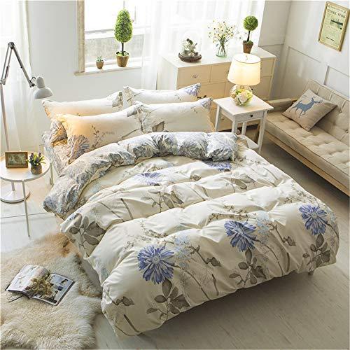 YUNSW Fashion Style Baumwolle Beige Blume Erfrischende Bettwäsche Set Voll Königin King Size Bett Quilt Bettbezug A 220x240cm (Für King-size-bett Quilts)