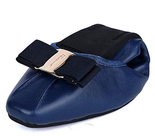 SHINIK Frauen 's Fold Up Ballett Pumps Leder Ei Rolls Frauen' s Shallow Side Square Schuhe Korean Version der Bow Dance Dancing Schuhe deep blue